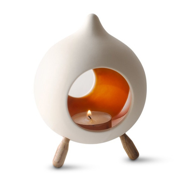 Hinterland Trading Footed Ceramic Orange Glazed Candle Holder, Teardrop