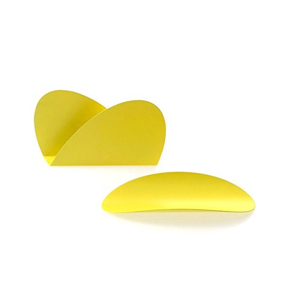 Alessi Ellipse Desk Set in Stainless Steel Colored with Epoxy Resin Yellow