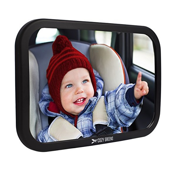 Cozy Greens® Baby Car Mirror | Back Seat Rear-facing Infant In Sight | Luxury Gift Box | CRASH TESTED | + FREE GIFTS Cleaning Cloth & Traveling With Kids eBook | Lifetime 100% Satisfaction Guarantee