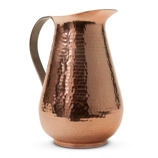 Sertodo Bisotun Water Pitcher, 76 oz, Hammered Copper