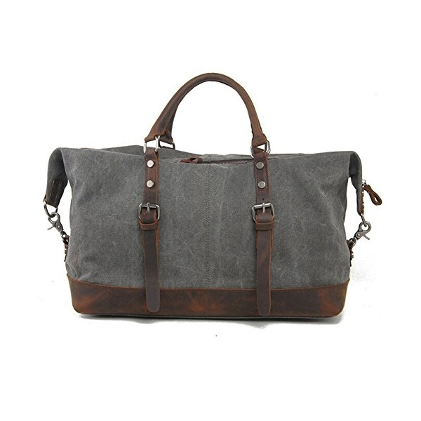 Toupons Oversized Vintage Canvas Duffel Bag Weekend Travel Tote (Grey)