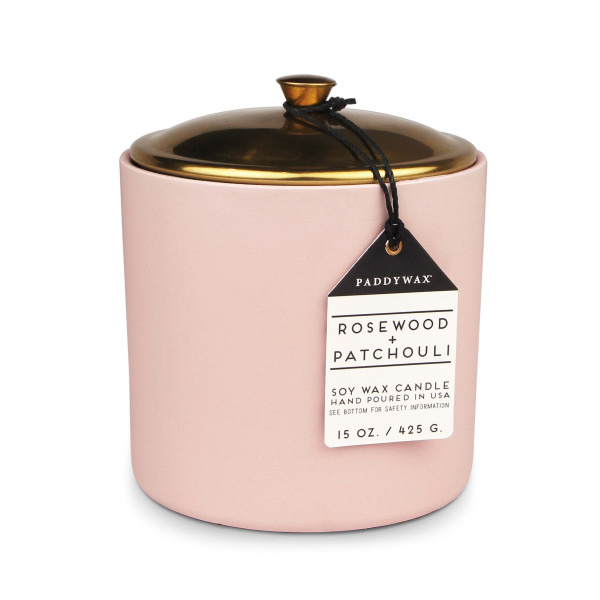 Hygge Collection Soy Wax Candle in Blush Ceramic Pot with Copper Lid, 15-Ounce, Rosewood & Patchouli