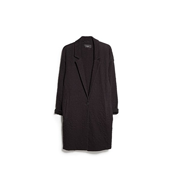 Mango Women's Textured Long Coat, Black, Xxs