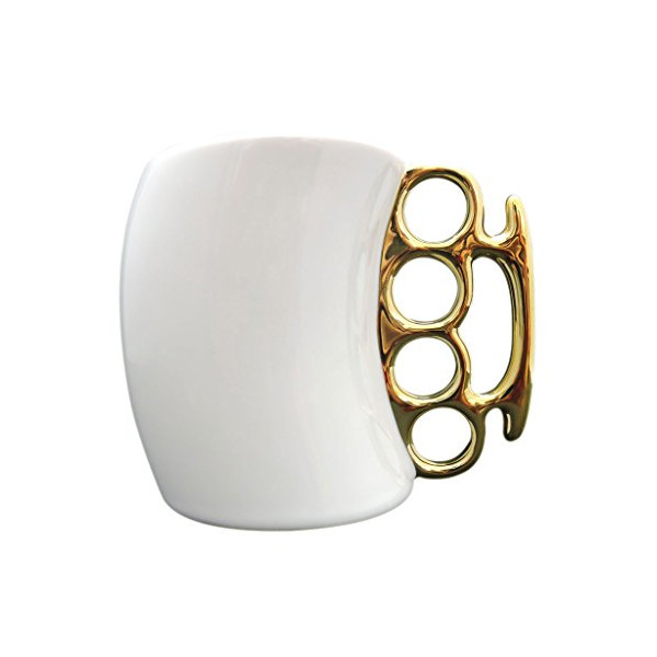 Fist Cup Brass Knuckle Duster Handle Coffee Mug, White Color and Golden Handle, Coffee Milk Ceramic Fist Mug Cup Cool Gift