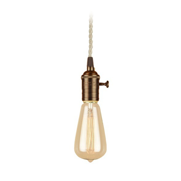 Brass Pendant Light with Cloth Cord and Edison Bulb