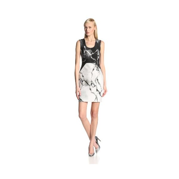 Robert Rodriguez Women's Carrara Neoprene Marble Print Sleeveless Dress, White, 0