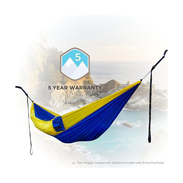 [Hammock & Strap Bundle] Classic Adventure Hammock with Suspension System - Easiest & Quickest Setup Available (10 Anchor Tree Straps) Ultralight & Quality Comfort for Camping, Travel, and Backpacking