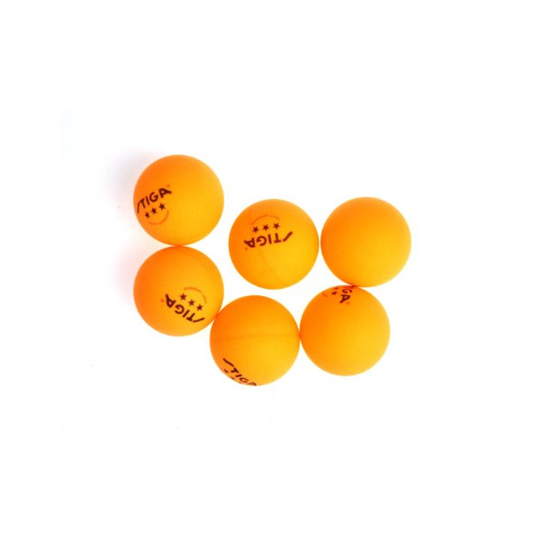 Stiga 3-Star Orange Table Tennis Balls, 6-Pack