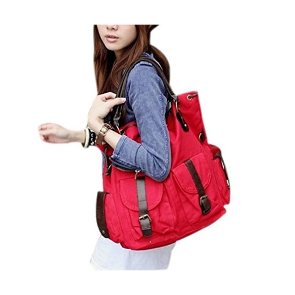 MOLLYGAN Girl's Retro Canvas Military Shoulder Bag Top Handle Bag (Red)