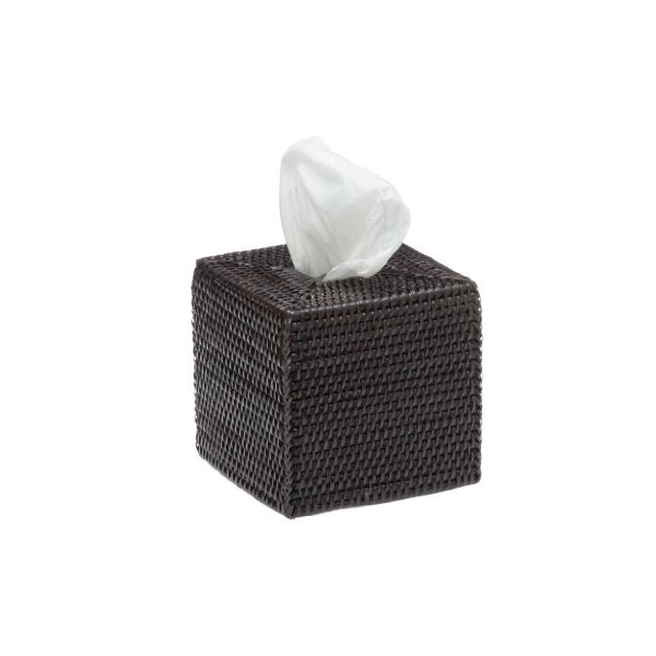 KOUBOO Square Rattan Tissue Box Cover, Espresso