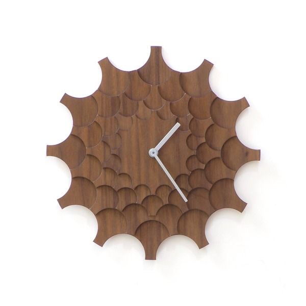 Cogwheel brown - unique stylish wall clock made of wood, a piece of wall art