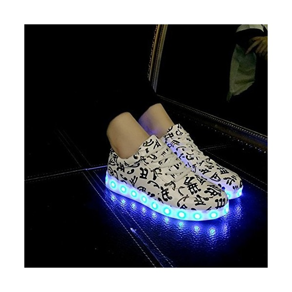 7 Colors LED Luminous Shoes Women Sneakers Usb Charging Light Shoes Colorful Glowing Leisure Casual Shoes Size 6 (23.5cm)