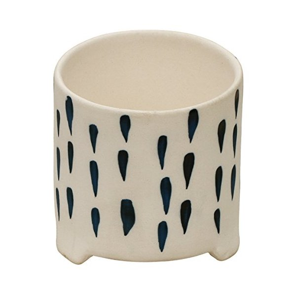 Cyber Monday Deals 2015 - SouvNear Handmade Ceramic Flower Pot Vessel Planter with Pleasant Blue Rain-Drop Pattern on White - Elegant Home Decor - Christmas and Holiday Gifts
