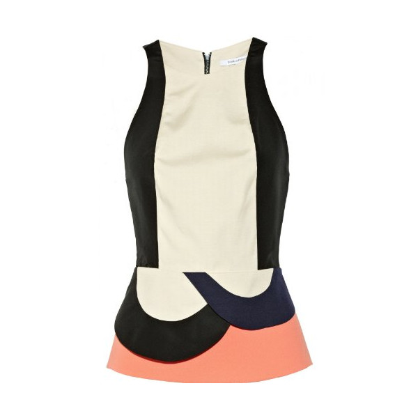 Diane Von Furstenberg Women's Eon Color Block Stretch Canvas Peplum Top Haystack 8