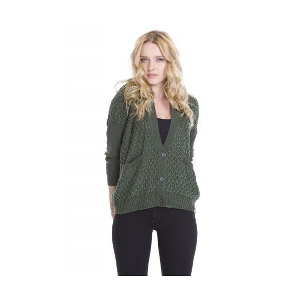 One Grey Day Women's Davos Button Up Designer Sweaters Green Wool Knit-M