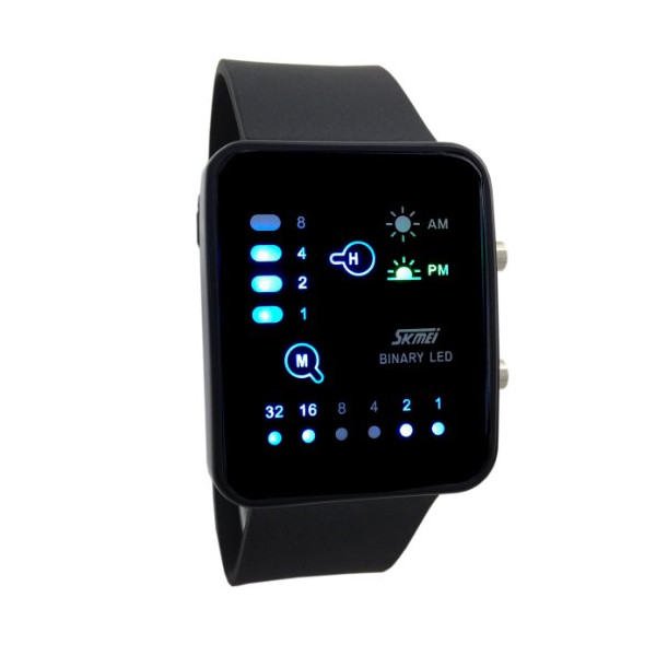 Technological Sense Binary Digital LED Waterproof Unisex Sports Wrist Watches Black