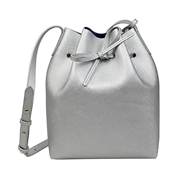 Lush Leather Smooth Bucket Silver Blue Bag