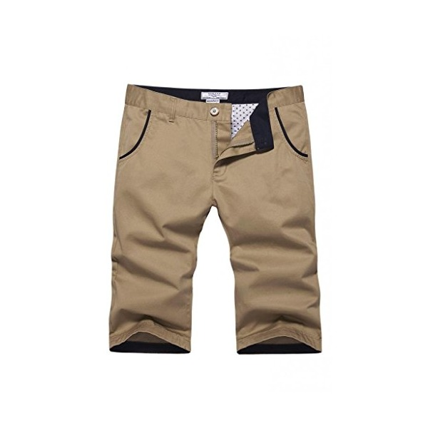 RUAYE Men's Cotton Slim-Fit Flat-Front Short Khaki Size US 28(Label Size 30)