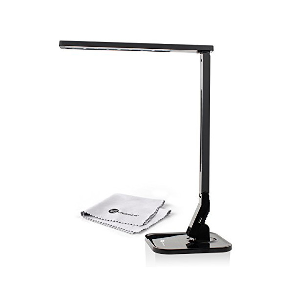 TaoTronics® Elune TT-DL01 Dimmable LED Desk Lamp (14W, Piano Black, 4 Lighting Modes, 5-Level Dimmer, Touch-Sensitive Control Panel, 1-Hour Auto Timer, 5V/1A USB Charging Port)