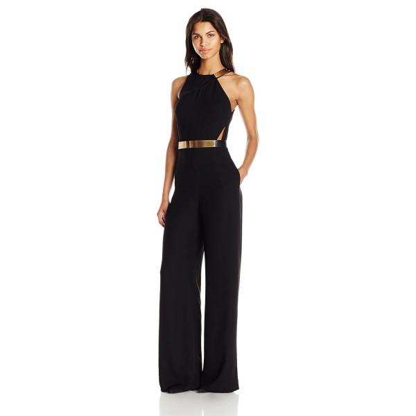 HALSTON HERITAGE Women's Sleeveless Crew Neck Asymmetrical Jumpsuit with Hardware, Black, 0