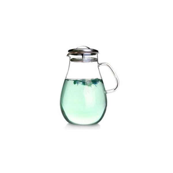 LQ Glass Pitcher with Stainless Steel Lids, 65 Oz Oval Water Bottle with Handle