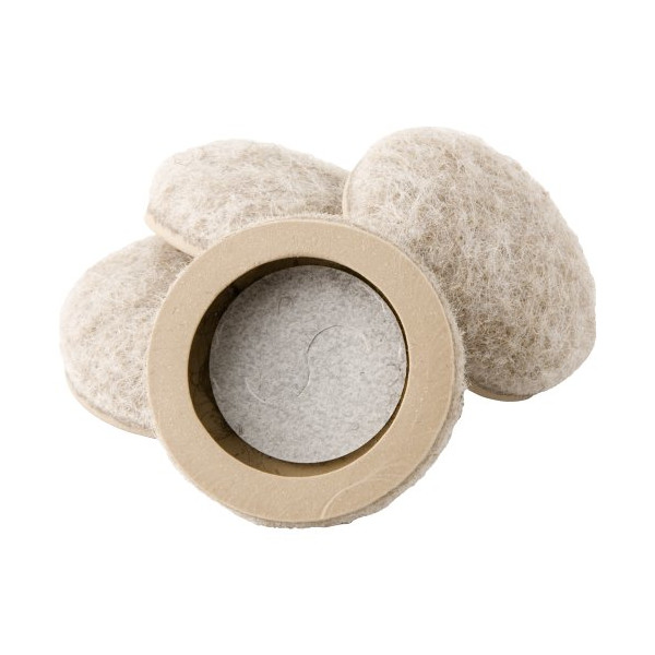 Waxman 4318495N 1 inch  Heavy Duty, Self Stick, Formed Fit Felt Bottom Round Furniture Sliders, 4 Pieces, Oatmeal