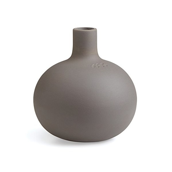 Kahler Globo Round Ceramic Candle Holder, Gray