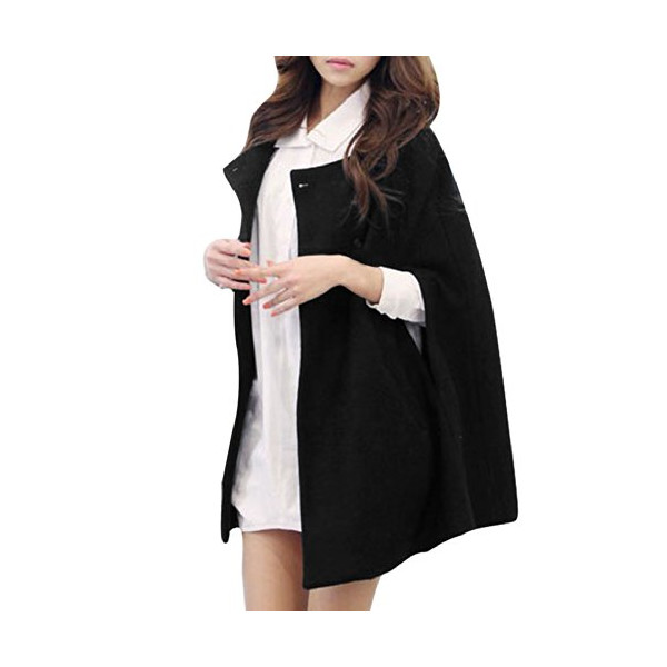 Allegra K 2014 Winter Women Fashion Single Breasted Side Pockets Lined Poncho Jacket