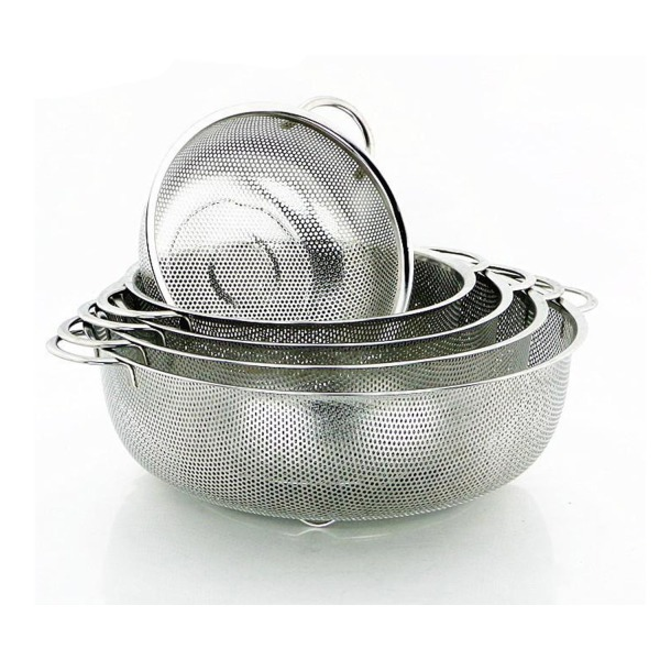 Hot Pot Endurance Precision Pierced Stainless Steel Wash Berries Fruits and Rice Colander 11 Inch