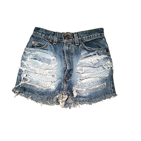 Shredded Vintage Levi Boyfriend Jean Shorts Denim Ripped Loose Fitting-L