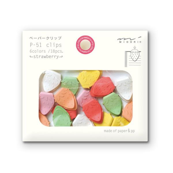 Midori Paper Clips, Strawberry, 18 Pieces