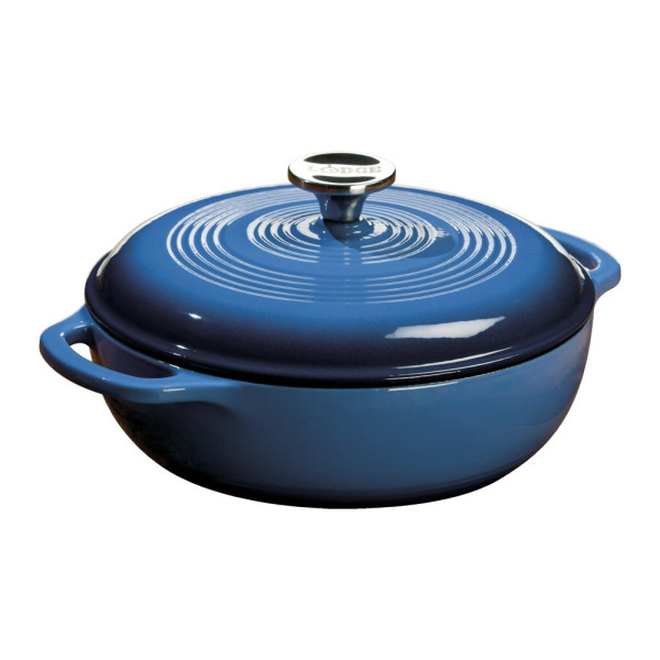 Lodge Color Enameled Cast Iron Dutch Oven, Blue, 6-Quart