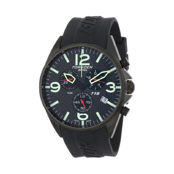 Torgoen Swiss Men's T16302 Aviation Chronograph Carbon Fiber Polyurethane Strap Watch