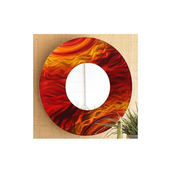 Red, Yellow & Orange Jewel-Toned Fusion Abstract Metal Wall Mirror - Modern Handpainted Metal Wall Art - Home Decor Accent by Jon Allen - Mirror 116