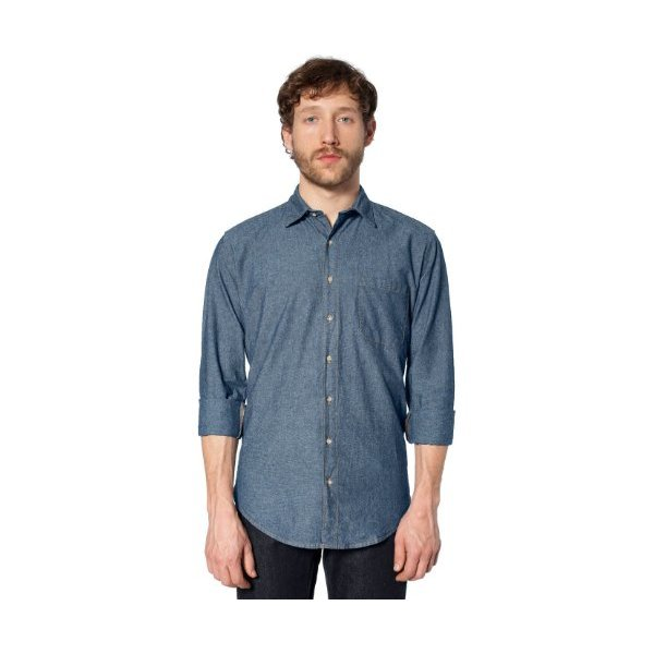 American Apparel Men's Heavy Chambray Long Sleeve Button-Up with Pocket Medium-Blue / Caramel