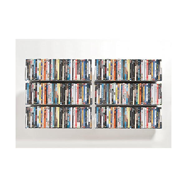 DVD and CD shelves - Set of 6 UCD TEEbooks - Supports up to 336 CDs / 240 DVDs - Grey