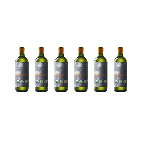 Organic Extra Virgin Olive Oil, Case of 6 1000 Ml / 34 Oz Glass Bottles (CASE)