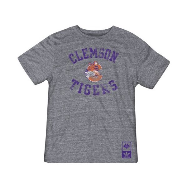 Clemson Tigers Grey Gym Class adidas Originals Tri-Blend Vintage Tee
