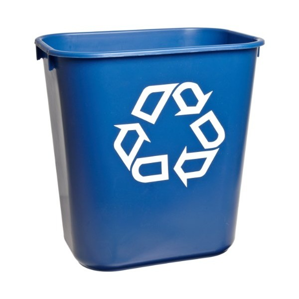 "Rubbermaid Commercial FG2955-73 Plastic 3.408-Gallon Small Deskside Recycling Container with Universal Recycle Symbol, Legend ""We Recycle"", Rectangular, Blue"
