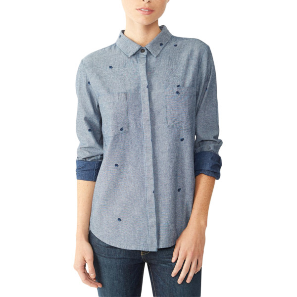 Alternative Chambray Button Up Double Pocket Shirt, Midnight Blue Ditsy Peach