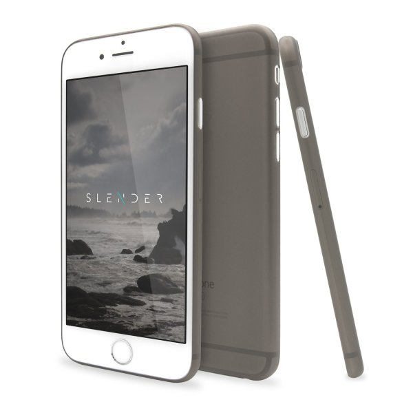 SlenderCase for iPhone 6 Plus, 6S Plus Phone Case (5.5-Inch) Extra Thin Clear Hard Shell, Camera Protection And 360 Degree Side Coverage (Smoky Black)
