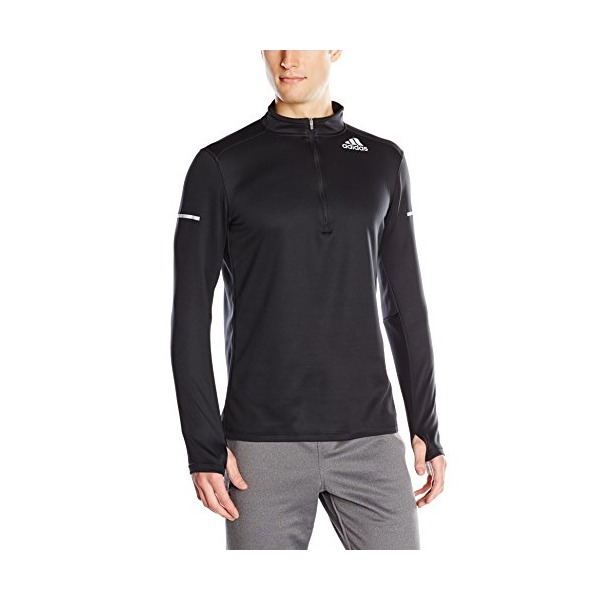 adidas Performance Men's Sequencials Money Long-Sleeve Half-Zip Tee, Small, Black