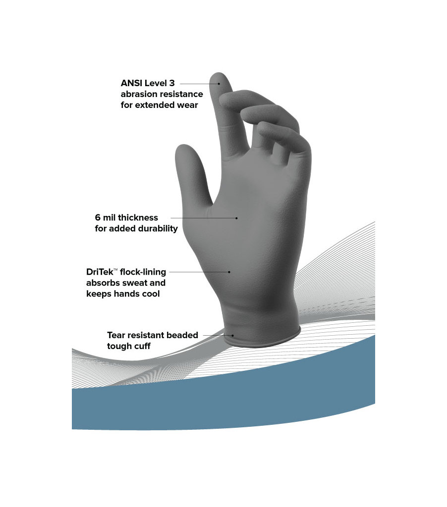 Nickelbacks: 6 Mil Sweat-Absorbing Nitrile Gloves - 50 PK, Grey, large image number 3