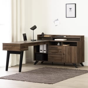 Helsy - L-Shaped Desk with Power Bar