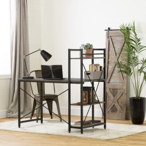 Evane - Industrial Desk with Bookcase