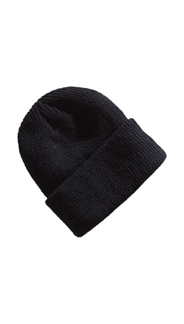 Classic Ribbed Cuff Knit Beanie - Black, , large