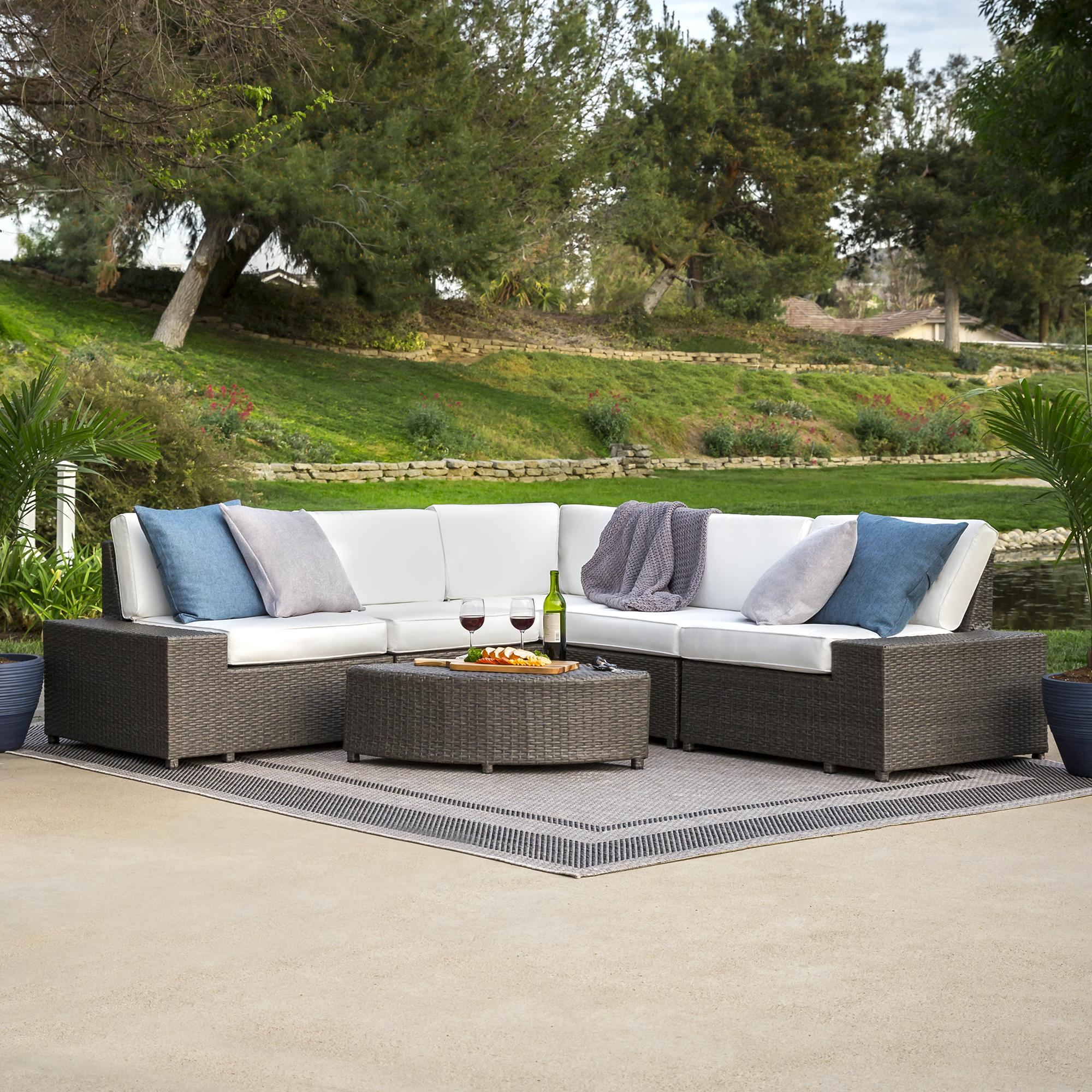 6-Piece Wicker Sectional Sofa - Gray