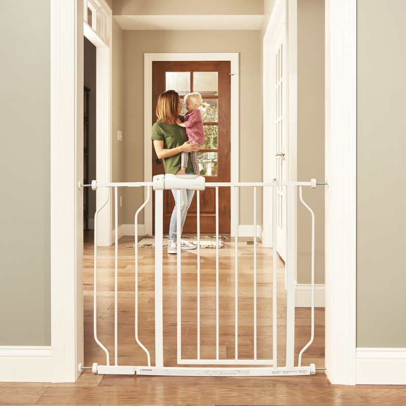 Easy Walk-Thru Pressure-Mounted Pass-Through Gate (White) Lifestyle Photo