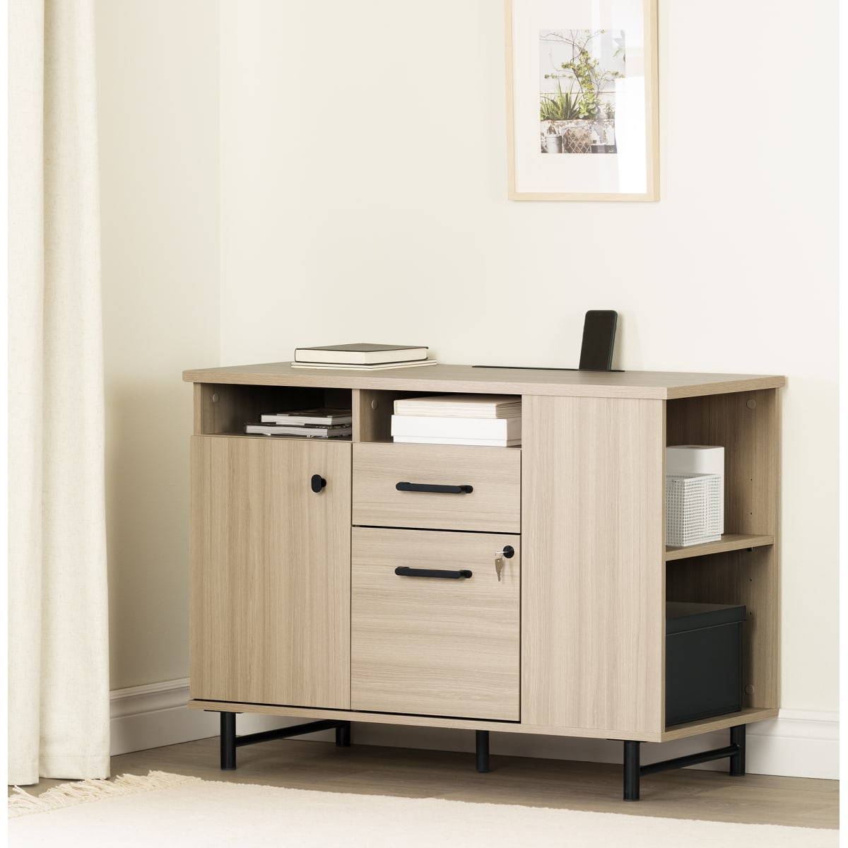 Zelia 2 Drawer Credenza With Open And Closed Storage Storage Unit Professional Office Furniture Products South Shore Furniture Us Furniture For Sale Designed And Manufactured In North America
