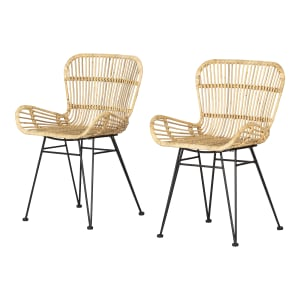 Balka - Rattan Dining Chair with Armrests, Set of 2